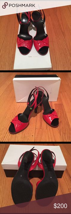 🌟Marc Jacobs Spazzolato Red ankle strap heels🌟 🌟Marc Jacobs Spazzolato Red ankle strap heels🌟Only worn once! Still in the original box. These are super sexy red patent leather with a sturdy rubber heel - posh meets punk! Marc Jacobs Shoes Heels