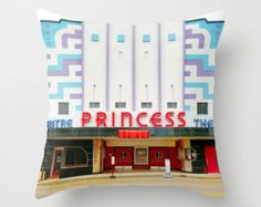 Theater Pillow, The Princess Theater, Theater Pillow Cover, Theater Decor, Movie Pillow, Princess Pillow, Old Theaters, moviehouse, Cinema by mayaredphotography. Explore more products on http://mayaredphotography.etsy.com
