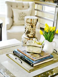 how to decorate a coffee table atthepicketfence.com