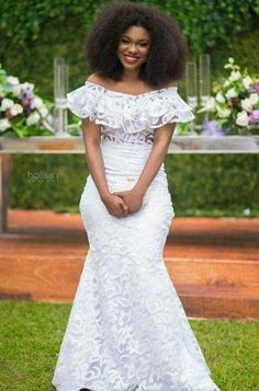 Here are some lovely wedding gowns that will make you appear beautiful in your wedding day. These wedding gowns come in different styles just to make your wedding extra cool. African Wedding Dress, Latest African Fashion Dresses, African Dresses For Women, African Print Fashion, African Attire, African Print Dresses, African Lace Styles, Lace Dress Styles, African Traditional Dresses