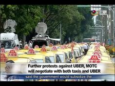 計程車抗議Uber 賀陳旦表示兩者都會輔導 Thousands of taxi drivers protest Uber outside Leg...