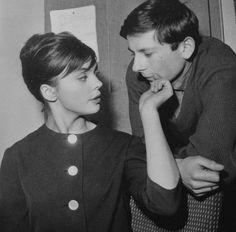 "Paris, 27th december 1959, Barbara Kwiatkowska-Lass & her first husband Roman Polanski on the set of her movie ""The Thousandth Window"" dir. by Robert Ménégoz. Photo by Claude Schwartz"