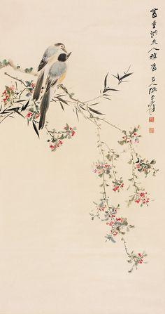 张大千 桃梢双侣   by China Online Museum - Chinese Art Galleries