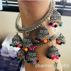 I Love Jewelry Silver n golden bangles with jhumki all sizes To order dmwhatsapp or call me on 9811816093 or 8800139969