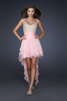Pink La Fermme 17732 Hi Lo V-neck Beaded Top Cheap Homecoming Dresses
