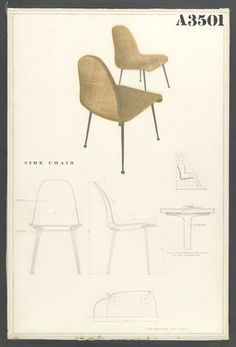"Competition Drawing for a Side Chair  Charles Eames (American, 1907–1978) and Eero Saarinen (American, born Finland. 1910–1961)    1940. Pencil on white poster board covered with cellophane, 30 x 20"" (76.2 x 50.8 cm). Gift of the designers"