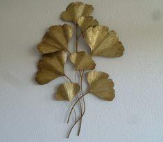 Metalen muurdecoratie Ginkgo antiek goud - Muurdecoratie Bomen - WANDDECORATIE METAAL | DEKOGIFTS