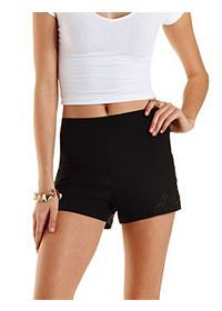 Lace-Trim High-Waisted Shorts