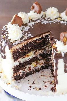 Almond Joy Layer Cake - layers of moist chocolate cake, flakey coconut filling and almonds, coconut frosting and chocolate ganache!