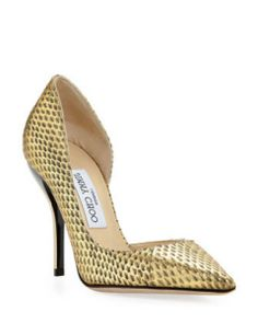 Jimmy Choo Closed Toe WIllis snake half d'orsay pumps pointed toe shoes