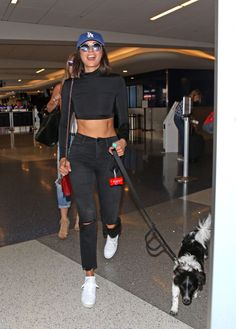 NINA DOBREV with Her Dog at LAX Airport in Los Angeles 07/19/2017