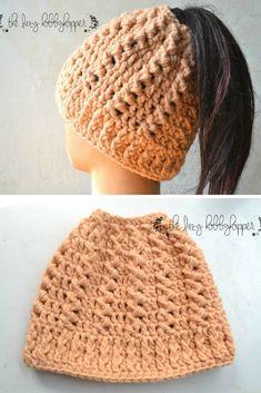 Messy bun hat - free crochet pattern (Top Bun Beanie)