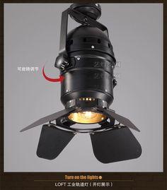 藝燈空間 Loft美式鄉村工業個性複古射燈軌道燈客廳餐廳吸頂燈具-淘寶網