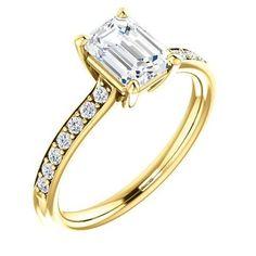 Diamond Engagement Rings : 1.0 Ct Emerald Ring 14k Yellow Gold