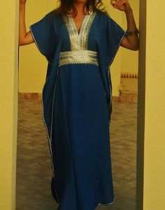 Caftan Kaftan Maxi Dress Marine Style for by MaisonMarrakech Beach Kaftan, Long Kaftan, Modest Fashion, Hijab Fashion, Marine Style, Winter Dresses, Summer Dresses, Moroccan Caftan, Fashion Project