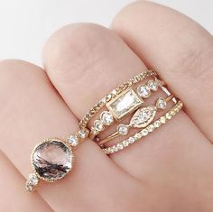Playing with shapes: our Slyphide and Baguette Aurora Rings pairs back perfectly to our Tourmalinated Quartz Aurora Ring I Love Jewelry, Gold Jewelry, Jewelry Rings, Jewelry Box, Jewelry Accessories, Bijoux Design, Jewelry Design, Pretty Rings, Beautiful Rings