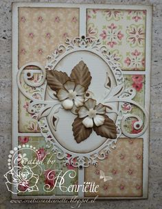 card by Henriette.... patchwork / quilt background could be done with scraps.... then add different focals