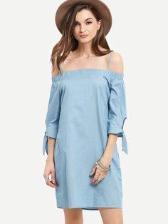 Kleid Schulterfrei mit Bindung an den Ärmeln 2017 Blau