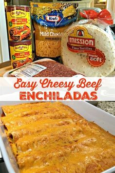 EASY CHEESY BEEF ENCHILADAS - Go-to family favorite for almost two decades. With just four ingredients and under an hour from start to finish, these cheesy, beefy, saucy enchiladas are a cinch to make, always a hit! #BeefEnchiladas #Easy #Recipe #Mexican #Maindish Healthy Dinner Recipes, Mexican Food Recipes, Cooking Recipes, Easy Recipes, Vegetarian Recipes, Dessert Recipes, Arabic Recipes, Cooking Dishes, Dishes Recipes