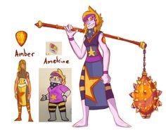 Amber and Ametrine fusion. Ametrine is a very good friend of Amethyst.