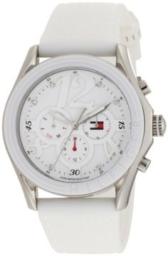 Women's Wrist Watches - Tommy Hilfiger Womens 1780968 Sport SilverTone White Strap Watch *** Want additional info? Click on the image.