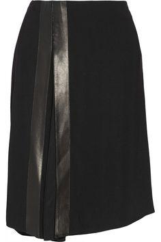 Reed Krakoff|Leather-trimmed stretch-cady skirt|NET-A-PORTER.COM