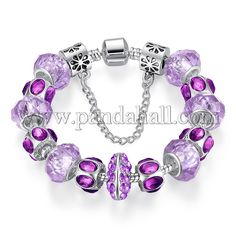 Brass European Bracelets, with Exquisite Lampwork Beads and Alloy Rhinestone Beads, Violet<P>Size: about 200mm long.