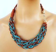 Collar de cuerda trenzado collar Color Block declaración por vess65
