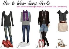 Scoop neck outfit ideas for inverted triangle body shapes, wide shoulders