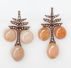 Hemmerle earrings – conch pearls, diamonds, copper and rose gold