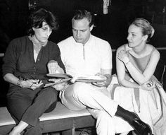 Anna Magnani, Marlon Brando and Joanne Woodward on the set of Sidney Lumet's The Fugitive Kind, based on the Orpheus Descending by Tennessee Williams, 1959