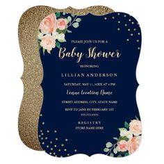 Navy Peach Gold Floral Confetti Baby Shower Card