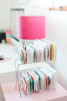 Pink lampshade and creative filing system