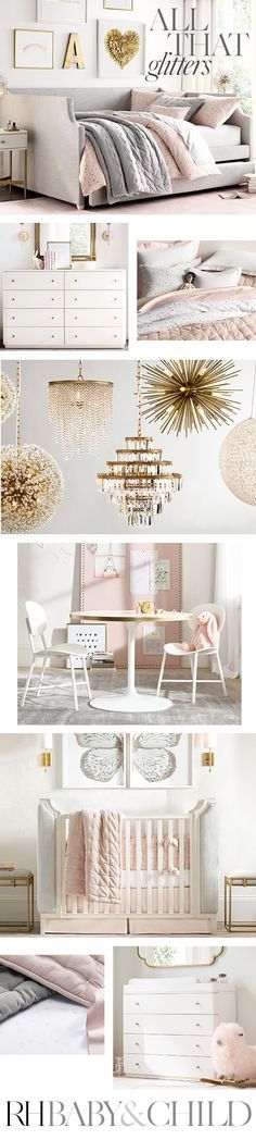Create her dream room with plush upholstered furniture, embellished bedding, mirrored accents and sparkling lighting. Shop this style at RH Baby & Child.