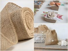 Party Trend: Burlap Adds Rustic Charm to Weddings + Fetes Burlap Projects, Burlap Crafts, Fabric Crafts, Sewing Crafts, Craft Projects, Sewing Projects, Diy Crafts, Painting Burlap, Burlap Lace