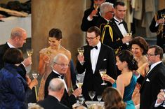 Princess Victoria Photos - Crown Princess Victoria and fiance Daniel Westling give a toast with Queen Silvia and King Carl Gustaf of Sweden and Olle and Eva Westling as well as Swedish Prime Minister Fredrik Reinfeldt as they attend the Government Pre-Wedding Dinner for Crown Princess Victoria of Sweden and Daniel Westling at The Eric Ericson Hall on June 18, 2010 in Stockholm, Sweden. - Crown Princess Victoria & Daniel Westling: Pre Wedding Dinner - Inside