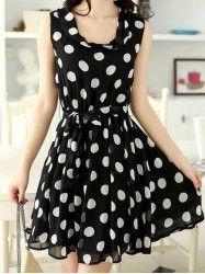 Elegant Women's Scoop Neck Sleeveless Polka Dot Chiffon Dress