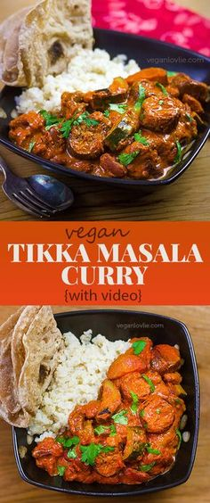 Easy vegan Tikka Masala curry with eggplant/aubergine, red kidney beans and courgette/zucchini. Curry Recipes, Veggie Recipes, Indian Food Recipes, Asian Recipes, Whole Food Recipes, Vegetarian Recipes, Cooking Recipes, Healthy Recipes, Vegan Tikka Masala