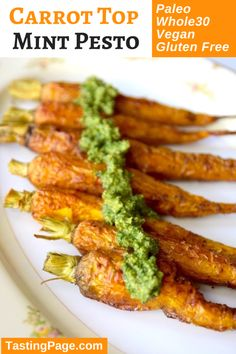Carrot Top Mint Pesto is a great condiment to top other vegetables or use as a dip - paleo, gluten free and vegan | TastingPage.com #paleo #whole30 #vegan #pesto #carrot #carrots #veganpesto #glutenfree #condiment #sauce