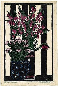 Native Fuchsia,  by Margaret Preston 1925   Technique: woodcut, printed in black ink, from one block; hand-coloured   Copyright: © Margaret Preston.
