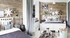 Ściana w sypialni: drewno z recyklingu