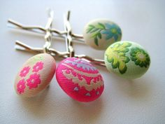 Button Bling Hair Pins in Green Pink and Blue by littlebrownbird on Etsy