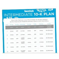 Print It: Intermediate 10-K Training Plan  http://www.womenshealthmag.com/fitness/training-for-a-10k