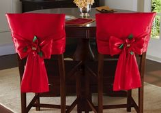 Red Holiday Bow Dining Chair Back Covers All Things Christmas, Christmas Holidays, Christmas Crafts, Christmas Ornaments, Christmas Poinsettia, Chair Back Covers, Chair Backs, Christmas Tablescapes, Christmas Table Decorations