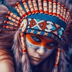 Painting Supplies Indian Girl Paint By Numbers Kit Canvas Art Diy Painting Wall Decor & Garden Native American Face Paint, Native American Tattoos, Native American Girls, Red Indian, Indian Art, Painting Process, Diy Painting, Cool Paintings, Beautiful Paintings