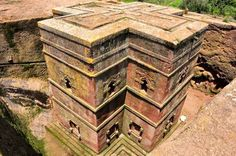 Church of Saint George: LALIBELA, Ethiopia — One of eleven monolithic churches, its cross-like building plan was cut 40 feet into the stone bedrock. This church was the culmination of plans to build a New Jerusalem in Ethiopia. Countries Around The World, Around The Worlds, Underwater Sculpture, Art Articles, Down South, African History, African Art, Black People, Jerusalem