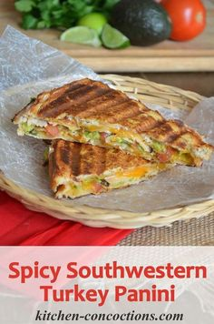 Spicy Southwestern Turkey Panini Recipe - Looking for the perfect sandwich for lunch or dinner? Try this hearty and satisfying Spicy Southwestern Turkey Panini with a quick guacamole, oven roasted turkey and Colby jack cheese! Grill Sandwich, Panini Sandwiches, Turkey Sandwiches, Soup And Sandwich, Sandwich Recipes, Lunch Recipes, Dinner Recipes, Cooking Recipes, Healthy Panini Recipes