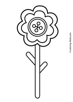 Straight Line Tracing Prewriting Flower Worksheet in Color