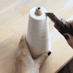"misskylovader: "" gifsboom: "" Cutting yarn. [video] "" why is this so perfect """
