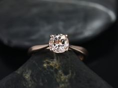 Flora 14kt Rose Gold Round Morganite Tulip Cathedral Solitaire Engagement Ring (Other metals and stone options available)